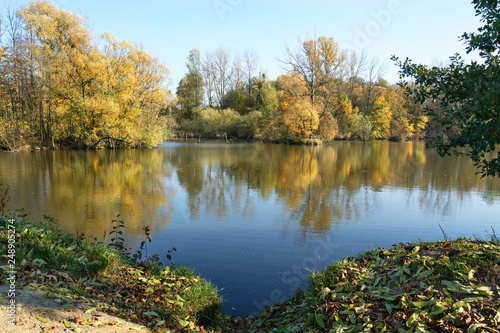 Autumn colors at the pond.  East Moravia. Czech Republic. Europe. © Milan