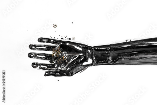 Foto Murales cyborg hand on white background