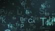 grid with chemical elements symbols in random order (3d render)