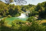 Sunny Croatia waterfalls in summer Krka resort