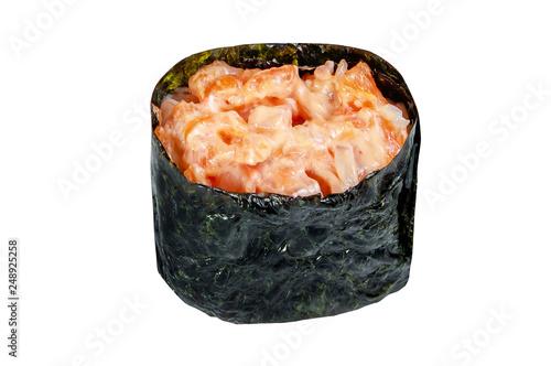 close up of sashimi sushi roll isolated on white background