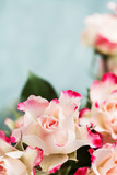Bouquet of beautiful white pink roses
