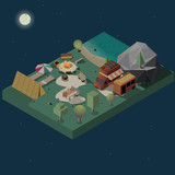 Overnight stay at campsite on river or wild lake shore cross section isometric vector. Camping trailer and van, tourist tent, campfire and dinner table low poly illustration. Outdoor recreation scene