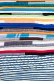 Brazilian handicraft doormat (capacho) stacked from northeast of Brazil . Colorful patterns taken in Feira de Sao Cristovao, Rio de Janeiro, Brazil. 2017