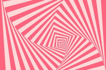 Optical illusion background. Geometric pink vortex