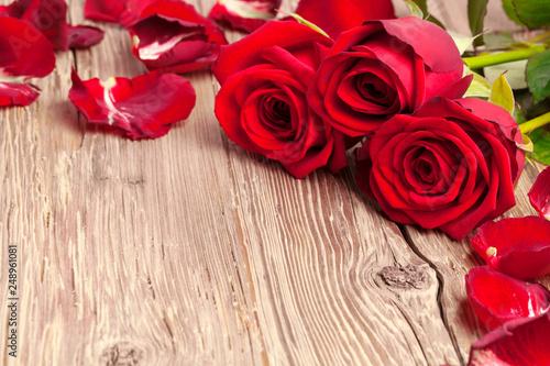 Rote Rosen mit Rosenblättern auf rustikalem Holz Hintergrund