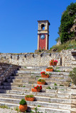 Clock Tower of the Old Fortress in Corfu, Greece.