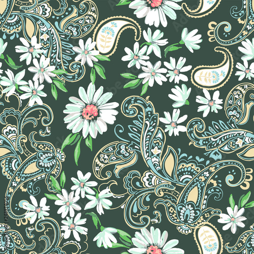 Paisley and Daisies seamless background - 248974056