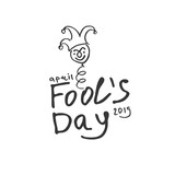 Fools Day. Cartoon style graphics marker drawn logo with a jester on a spring. Handwritten logo for fool's day. Vector template.