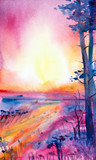 Abstract watercolor illustration of the forest at sunset