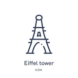 eiffel tower icon from travel outline collection. Thin line eiffel tower icon isolated on white background.