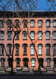 Exterior facade of old historic building in Manhattan New York City