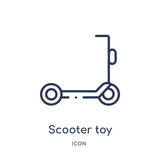 scooter toy icon from toys outline collection. Thin line scooter toy icon isolated on white background.