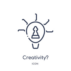 creativity? icon from strategy outline collection. Thin line creativity? icon isolated on white background. © Meth Mehr