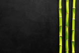 Asian background. Green bamboo branches on black background top view space for text