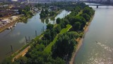 drone shots of the rhine river in cologne, germany - 249010240