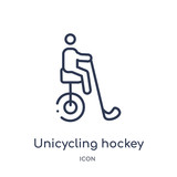 unicycling hockey icon from sport outline collection. Thin line unicycling hockey icon isolated on white background.