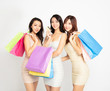 beautiful girls showing credit card and shopping bags