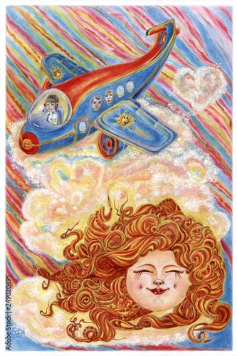 Flight of plane with bright summer sun. - 249020495