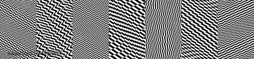 Black and white design. Pattern with optical illusion. Abstract 3D geometrical background. Vector illustration. - 249020829
