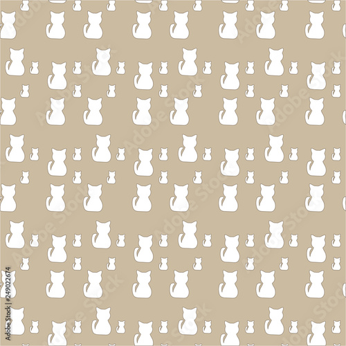 obraz lub plakat Cute seamless pattern with cats, paw prints.Can be used for wallpaper,fabric, web page background, surface textures.