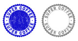 Grunge SUPER COFFEE stamp seals isolated on a white background. Rosette seals with grunge texture in blue and gray colors. Vector rubber stamp imprint of SUPER COFFEE label inside round rosette. - 249026445