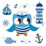 Cute vector nautical set with sailor owl captain bird. Vector illustration.