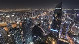 4K Timelapse - Aerial view of cityscape and skyline in Marina.Dubai.UAE at night