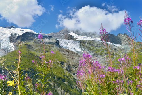 beautiful view on alpine glacier