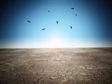 Cracked desert soil against blue sky. 3D illustration - 249036824