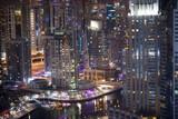 Skyscrapers in Dubai Marina by night, Dubai, United Arab Emirates