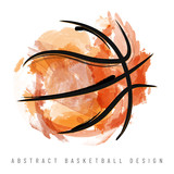 Abstract watercolor basketball ball on white background