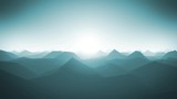 Mountains Landscape Silhouette Background Loop/ 4k animation of an abstract fractal mountains landscape with low polygons silhouettes, and beautiful sunshine in the horizon, seamless looping
