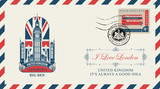 Vector postcard or envelope with Big Ben in London, UK flag and inscriptions. Retro postcard with postmark in form of royal coat of arms and postage stamp with double decker bus