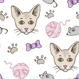 Seamless pattern with cat