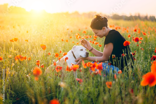 Foto Murales Woman with a dog in sunset