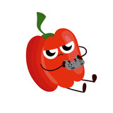 Funny cartoon red pepper drawing illustration isolated - 249057609
