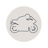 Icono plano lineal silueta motorista en círculo color gris