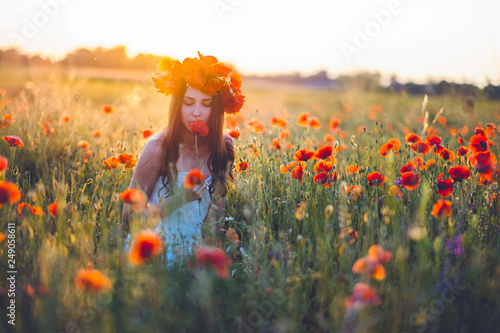Woman at a flower field in summer sunset - 249058611