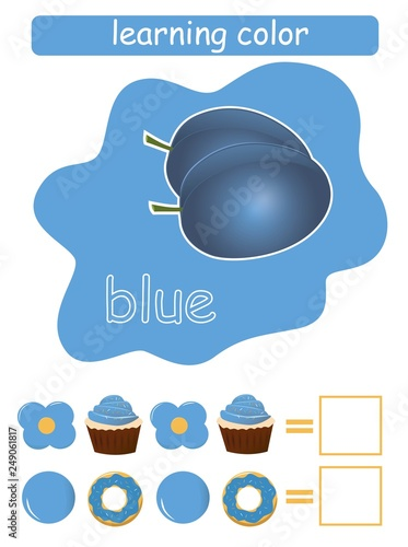 Learning color. Blue. Educational game for children. Color guide whit color name.