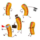 Hot dogs, cheerful, fun drawing cartoon on the white background. - 249065036