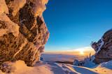 Blick über den verschneiten bayerischen Wald im Nebelmeer - 249067272