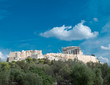Athens, Parthenon ancient Greek temple on Acropolis hill, view from the west