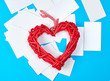wooden wicker red heart and empty white paper business cards