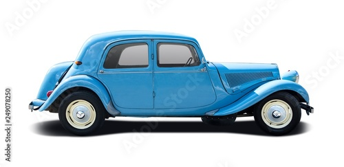 Blue antique car isolated on white