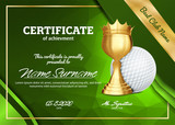 Golf Certificate Diploma With Golden Cup Vector. Sport Graduation. Elegant Document. Luxury Paper. A4 Horizontal. Championship Illustration