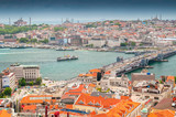 View from the Galata Tower across the Galata Bridge and Golden Horn to Eminonu district, Istanbul, Turkey.