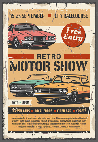 Motor show, vector retro vintage cars - 249088675