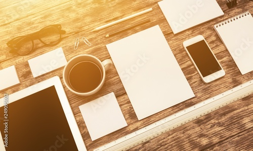Office items set on wooden background © BillionPhotos.com