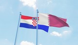 Qatar and Croatia, two flags waving against blue sky. 3d image